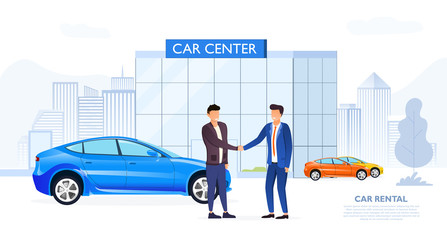 Garden Poster Cartoon cars Client shaking automobile dealers hand in simple sketchy image with two men outdoors near Car Center, rental or used car dealership office, transferring a car after signing the contract
