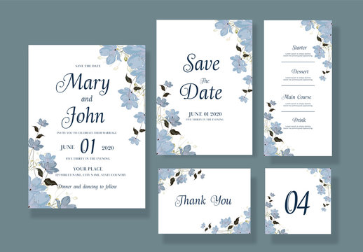 Wedding Invitation Layout Set with Grey Watercolor Flowers