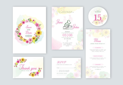 Wedding Invitation Layout Set with Colorful Flowers and Engagement Rings