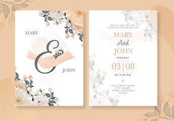 Wedding Invitation Card Layout with Watercolor Flowers and Hands