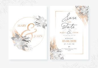 Wedding Invitation Card Layout with Watercolor Flowers