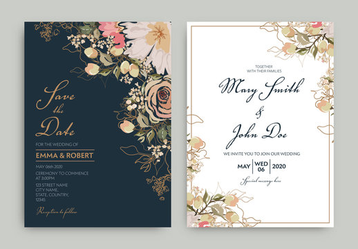 Two Wedding Invitation Cards with Watercolor Flowers