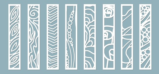 panel for registration of the decorative surfaces. Abstract strips, lines, panels. Vector illustration of a laser cutting. Plotter cutting and screen printing...