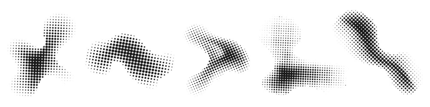 Halftone effect design elements. Abstract shapes.
