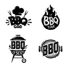 Barbecue. BBQ time. Vintage graphics. Grill and barbecue badge, sticker, emblem, logo.