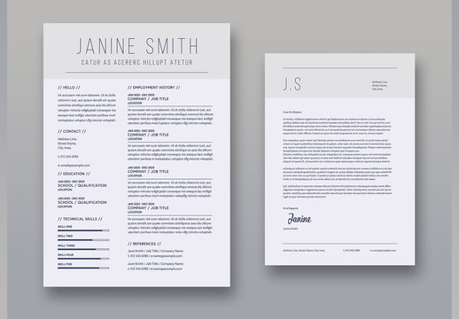 Resume and Cover Letter Layout Set with Light Gray Header Element