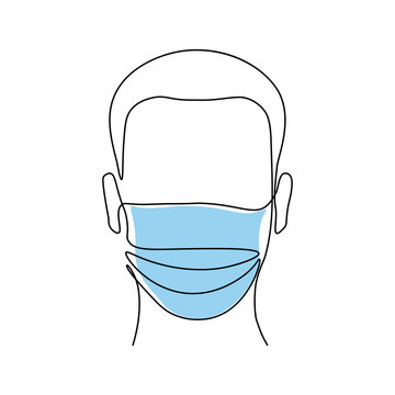 Abstract man wearing medical mask in continuous line art drawing style. Vector illustration