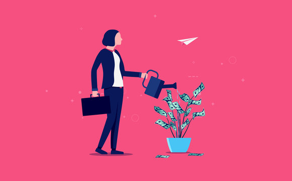 Money growth woman - female person watering a flower with growing cash. Investing, savings and managing money concept. Vector illustration.