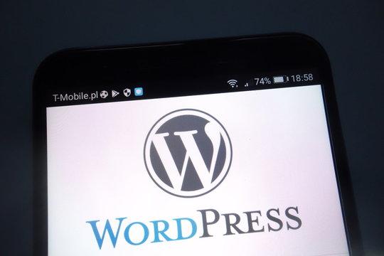 KONSKIE, POLAND - SEPTEMBER 15, 2018: WordPress logo on smartphone