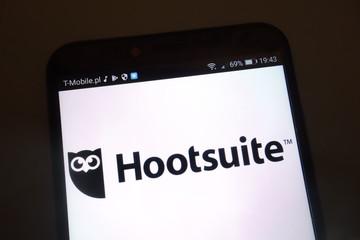 KONSKIE, POLAND - SEPTEMBER 15, 2018: Hootsuite logo on smartphone