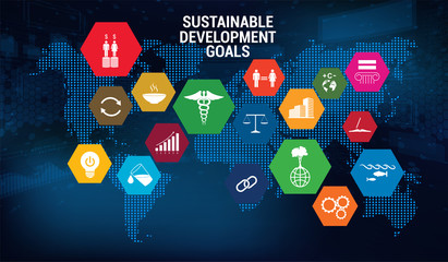 SDG - Sustainable Development Goals - Vector banner, long-term project the united nations. 17 aspects in 17 colorful icons. Sustainable Development Goals. Transformation of our world. SDG infographic