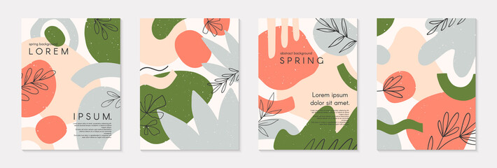 Set of spring vector collages with hand drawn organic shapes and textures in pastel colors.Trendy contemporary design perfect for prints,flyers,banners,invitations,branding design,covers and more Papier Peint
