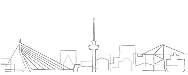 Fotorollo Rotterdam Rotterdam Freehand Minimal Line Skyline and Landmarks