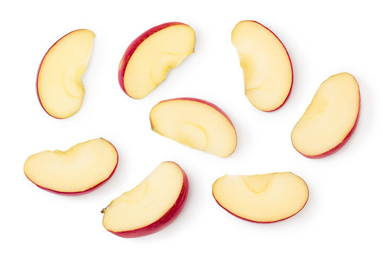 Red apple slices isolated on white background with clipping path and full depth of field. Top view. Flat lay