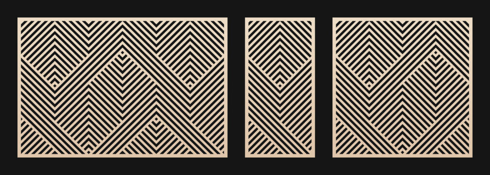 Laser cut panel set. Vector template with abstract geometric pattern, lines, stripes, chevron. Decorative stencil for laser cutting of wood, metal, plastic, decor element. Aspect ratio 3:2, 1:2, 1:1
