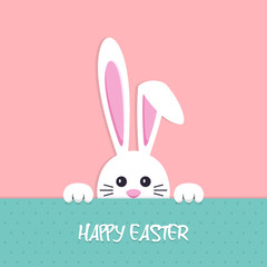 Happy Easter background with bunny in a flat design