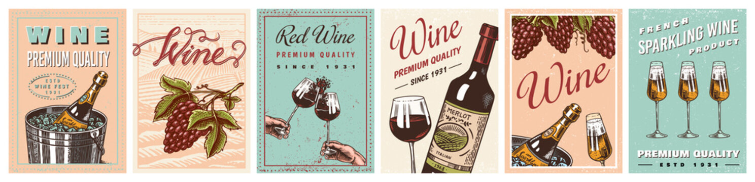 Wine posters or vineyard banners. Sparkling champagne background, Cheers toast and Grape. Hand Drawn engraved vintage old sketch for bar, alcohol label, restaurant menu.