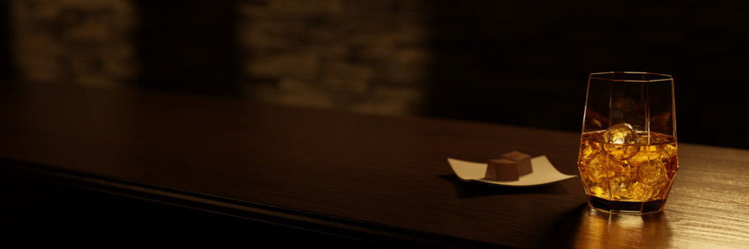 A glass of whisky on a bar counter with a chocolate plate. 3D rendering.