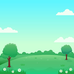 Nature landscape vector illustration with green field, flowers, trees and bright sky suitable for background