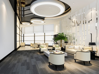 3d rendering luxury hotel and office reception hall and lounge restaurant Fotomurales
