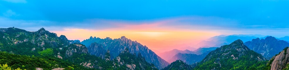 Beautiful Huangshan mountains landscape at sunrise in China. Wall mural
