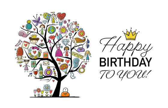Art tree with female accesuares, gifts and wishes. Idea for your design birthday card, shop logo, banner