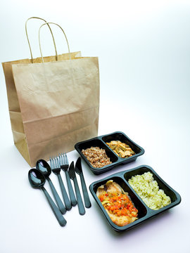 Plastic containers with delicious food on an isolated background. Delivery service.
