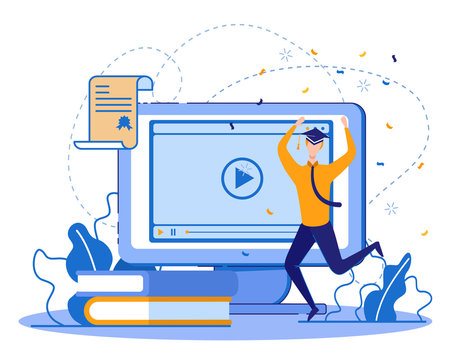 Distant Learning as Lifetime Education Part. Happy Graduating Student, Young Businessman, Working and Studying at Same Time. Professional Development Courses for Advanced Training Online.