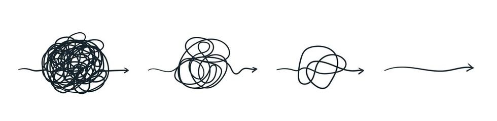 Fototapeta Complex line. Complicated way. Messy ball concept. Loading idea vector process. obraz