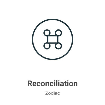 Reconciliation outline vector icon. Thin line black reconciliation icon, flat vector simple element illustration from editable zodiac concept isolated stroke on white background