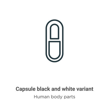 Capsule black and white variant outline vector icon. Thin line black capsule black and white variant icon, flat vector simple element illustration from editable human body parts concept isolated