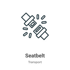 Seatbelt outline vector icon. Thin line black seatbelt icon, flat vector simple element illustration from editable transport concept isolated stroke on white background