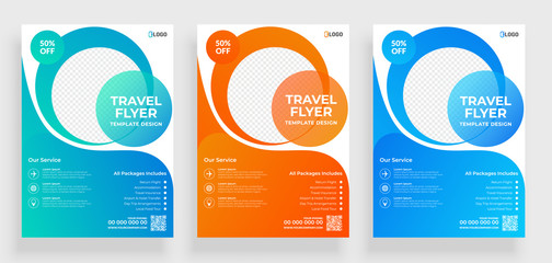 Travel flyer template design with contact and venue details.