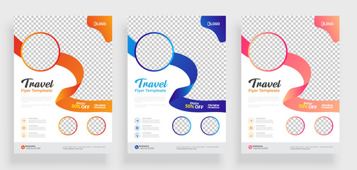 Fototapeta Travel flyer template design with contact and venue details. obraz