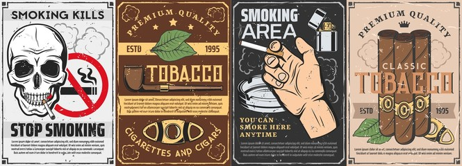 Tobacco and smoking items retro posters. Vector cigars, pipe with premium quality label and cutter, tobacco production factory or gentleman club. Stop smoking sign, skull and human hand with cigarette