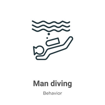 Man diving outline vector icon. Thin line black man diving icon, flat vector simple element illustration from editable behavior concept isolated stroke on white background