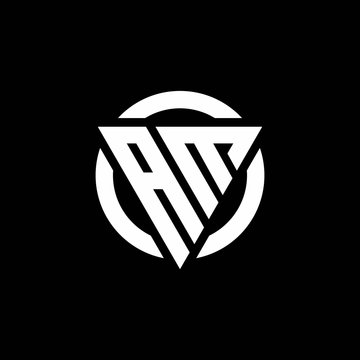 AM logo with triangle shape and circle rounded design template
