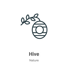 Hive outline vector icon. Thin line black hive icon, flat vector simple element illustration from editable nature concept isolated stroke on white background