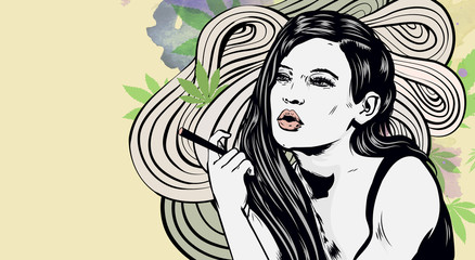 Woman smoking joint. Cannabis leaf watercolor background