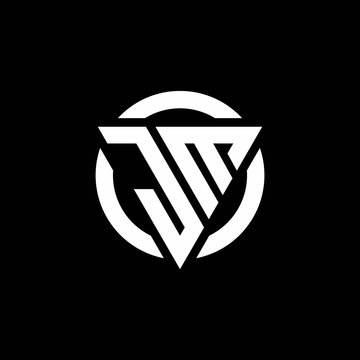 JM logo with triangle shape and circle rounded design template