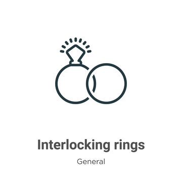 Interlocking rings outline vector icon. Thin line black interlocking rings icon, flat vector simple element illustration from editable general concept isolated stroke on white background