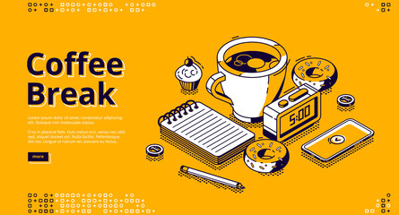 Coffee break isometric landing page. Cup with hot beverage, sweet donuts, smartphone, note pad and alarm clock with 5 a.m time on dial stand on table. Business lunch 3d vector line art web banner