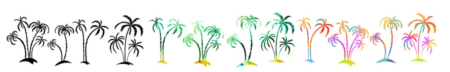 Set Multi-colored palm trees. Hello summer. mixed media. Vector illustration Fototapete