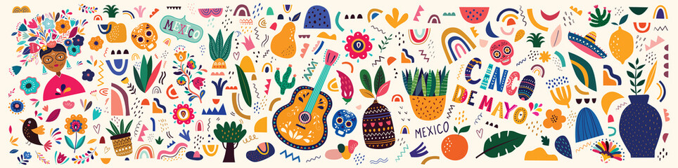 Mexico illustration. Mexican pattern. Vector illustration with design  for Mexican holiday 5 may Cinco De Mayo. Vector template with Mexican symbols: Mexican guitar, flowers, red pepper, skull