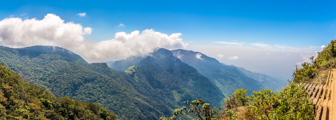 Wall Mural - Panoramic view from the hill Mini Worlds End in Horton Plains National Park, Sri Lanka