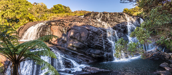 Wall Mural - Panoramic view at Bakers Fall in National Park Horton Plains, Sri Lanka