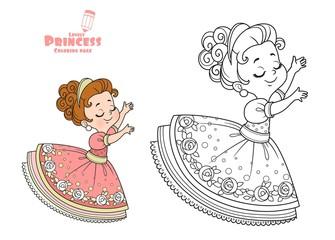 Estores personalizados com sua foto Cute princess dancing outlined and color for coloring book