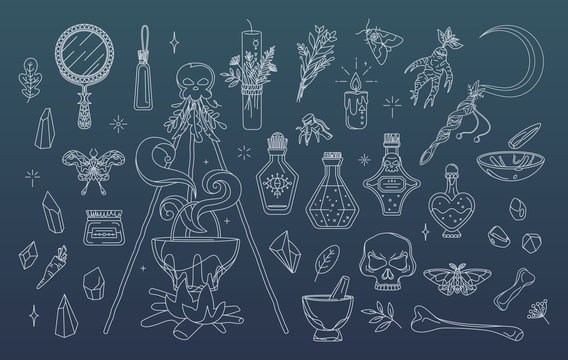 Wicca, pagan and herbal medicine collection. Isolated witchcraft elements set - cauldron, mirror, candles, ritual sickle. Magic, esoteric or occult symbols. Badges, stickers and print concept