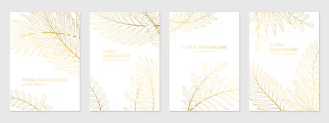 Vector set of luxury templates. Backgrounds with space for text and golden plants. Design for social media stories, banner, greeting card, invitation, poster and advertising.