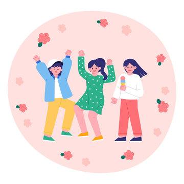 Hello spring, dancing women, fun festival. People Vector Illustrations
